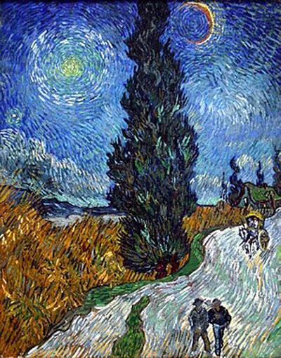 ゴッホ 糸杉と星の見える道